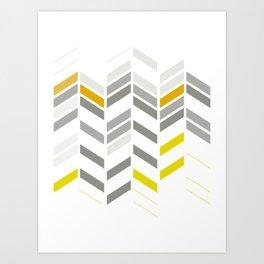 Deconstructed Chevron A – Gray / Yellow / Orange Pattern Print Art Print