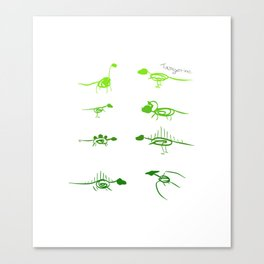 Scribble Dinos | Lime Canvas Print