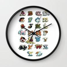 The Disney Alphabet - White Background Wall Clock