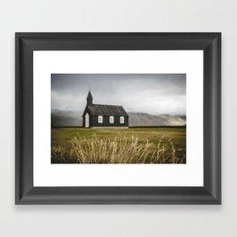 The Black Church. Búðakirkja.    Travel Iceland.    Icelandic landscape.    MadaraTravels Framed Art Print