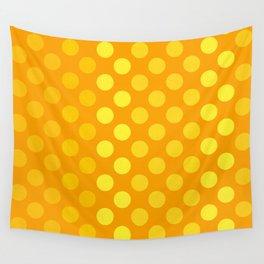 """Yellow & Ocher Burlap Texture & Polka Dots"" Wall Tapestry"
