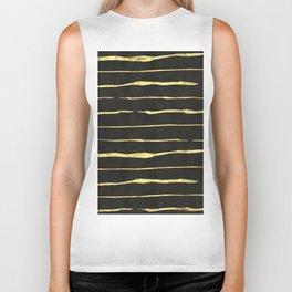 Gold Wiggly Stripes on Black Biker Tank