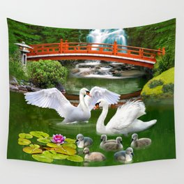 Swans and Baby Cygnets in an Oriental Landscape Wall Tapestry