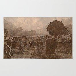 Irish Graveyard   Sepia Graveyard   Halloween Landscape Rug