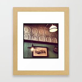 Lamps in a Cafe, NYC Framed Art Print