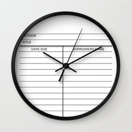Library Due Date Card Wall Clock