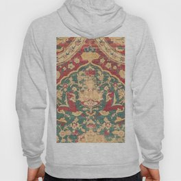 Peonies Kashan II // 16th Century Distressed Colorful Red Tan Light Blue Ornate Accent Rug Pattern Hoody