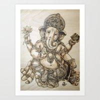 ganesh Art Prints featuring Ganesh by artbyolev