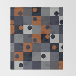 Navy & Rust Squares and Circles Throw Blanket