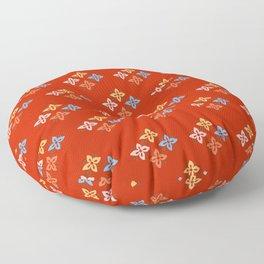 Las Flores - Red 02 (Patterns Please) Floor Pillow