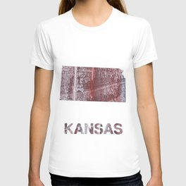 Kansas map outline Gray red clouded aquarelle T-shirt