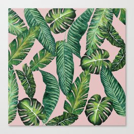 Jungle Leaves, Banana, Monstera II Pink #society6 Canvas Print