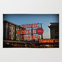 seattle Area & Throw Rugs featuring Seattle by FortuneArt&Photography