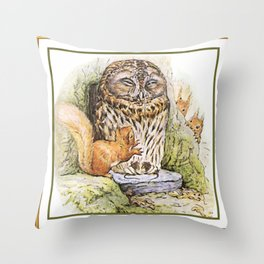 Squirrels tease a sleeping Owl Throw Pillow