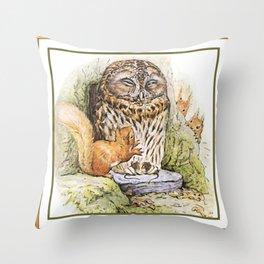 Squirrels tease a sleeping Owl Throw Pillow