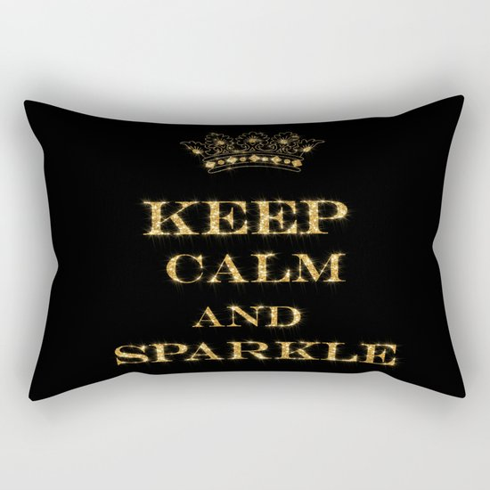 Keep calm and Sparkle- Gold Glitter effect on Black Background #Society6 Rectangular Pillow