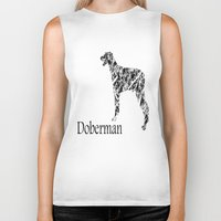 doberman Biker Tanks featuring Doberman Scribble by Jake Stanton