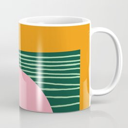 Pink Cat on Green Rug Coffee Mug