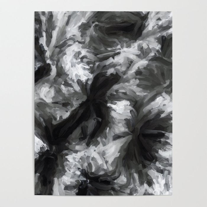Black And White Abstract Painting Texture Background Poster By Timla