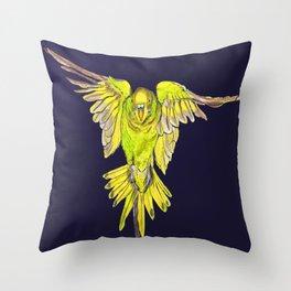 Flying Australian Budgie Bird Parakeet Throw Pillow