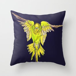 Flying Australian Budgie Bird Parakeet Throw Pillow