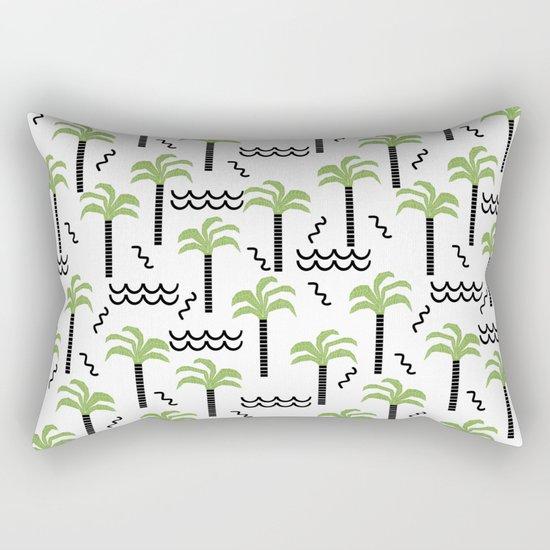 Palm trees tropical minimal ocean seaside socal beach life pattern Rectangular Pillow
