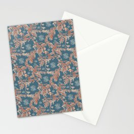 Water Swingers in Deep Wave ( leafy sea dragon pattern in teal and coral ) Stationery Cards