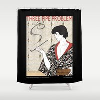 conan Shower Curtains featuring Three Pipe Problem by KARADIN
