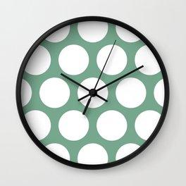 Large Polka Dots: Sea Foam Green Wall Clock