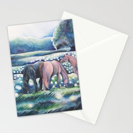 Moonlit Summer Night Horses And Fireflies Stationery Cards