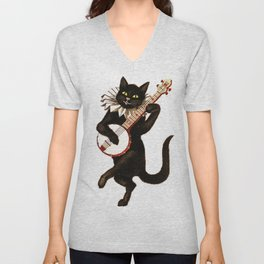 Cat playing a banjo Unisex V-Neck