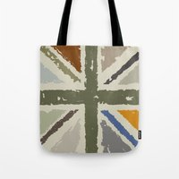 union jack Tote Bags featuring Union Jack by Chicklets & Bananas