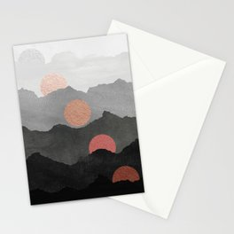 Abstract Mountains // Shades of Black and Grey Landscape Full Metallic Gold Moon Stationery Cards
