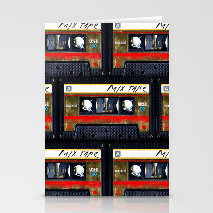 Retro classic vintage gold mix cassette tape Stationery Cards