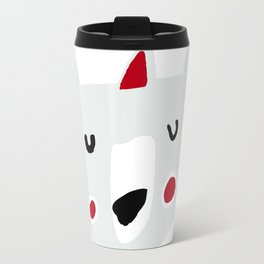 Cute holiday bear white Travel Mug