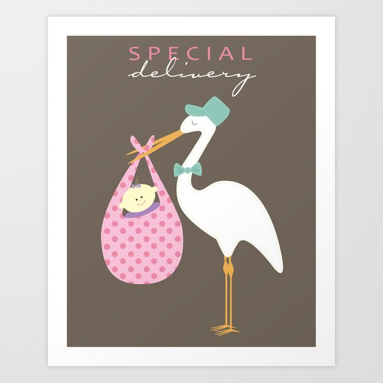 Special Delivery Baby Girl Art Print
