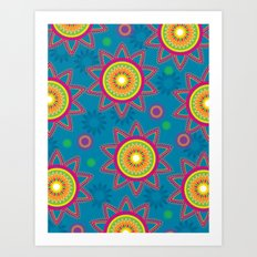 Moroccan Flower Blue Art Print