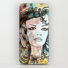 floral girl iPhone Skin