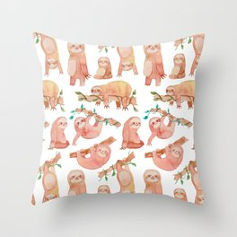 Sloth watercolor Throw Pillow