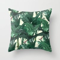 banana leaf Throw Pillows featuring Banana Leaf Pattern 2 by Tamsin Lucie