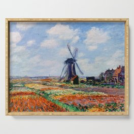 Claude Monet Tulip Field In Holland Serving Tray