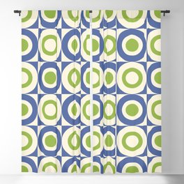 Mid Century Square and Circle Pattern 541 Blue and Green Blackout Curtain