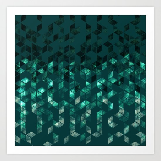 DARK TEAL OMBRE SCANDINAVIAN GEOMETRIC PATTERN Art Print ...