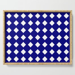 rhombus and tartan 6–  blue and white Serving Tray