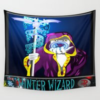 wizard Wall Tapestries featuring winter wizard by Nerd Artist DM