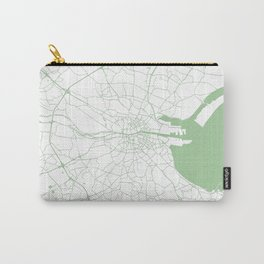 White on Green Dublin Street Map Carry-All Pouch