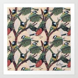 Magical Winter Wild Bird pattern Art Print