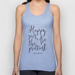 girls room Quote,happy Girls Are The Prettiest, Nursery Decor,Nursery Girls, Gift For Her Unisex Tank Top