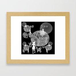 Black and White Surreal Balloon Girl Framed Art Print