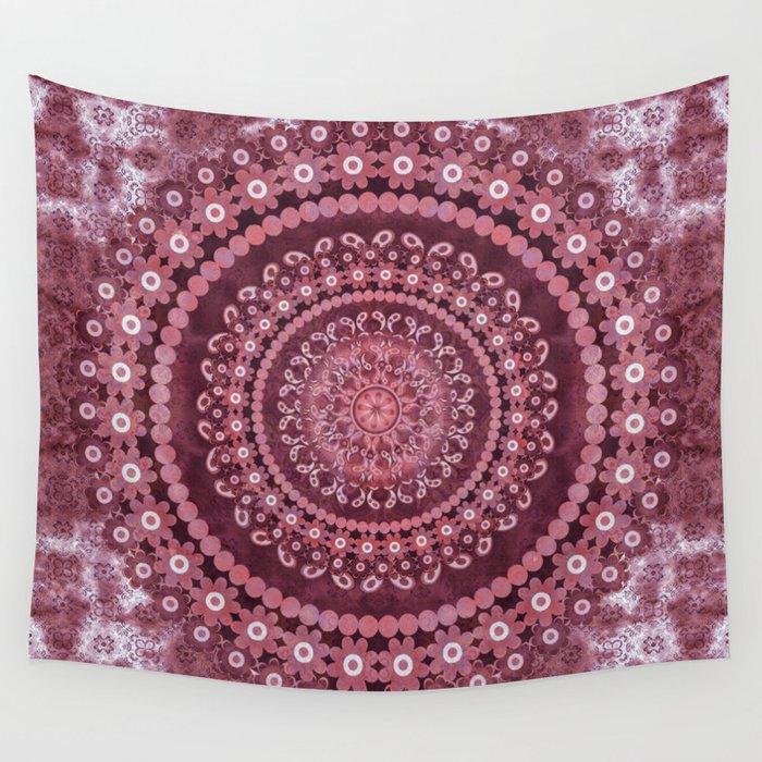 Boho Rosewood Mandala Wall Tapestry